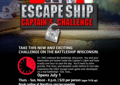 Escape Ship: Captain's Challenge Poster with Maverick Marketing Advertising and Public Relations