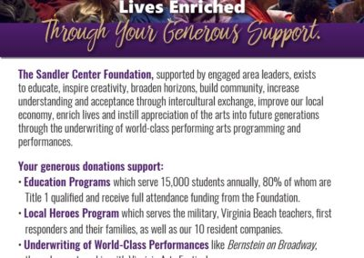 Sandler Center Foundation | Full page ad