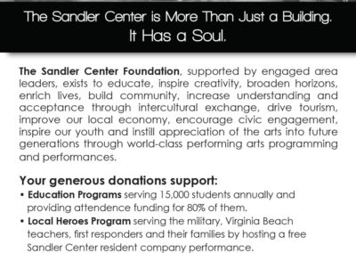 Sandler Center Foundation | B&W ad with Maverick Marketing Advertising and Public Relations