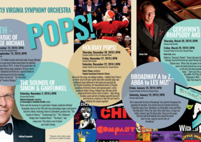 Virginia Symphony Orchestra | 2018-19 POPS Brochure Spread with Maverick Marketing Advertising and Public Relations
